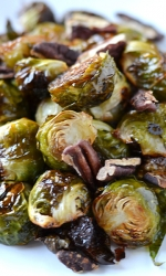 Honey Roasted Brussel Sprouts with Toasted Pecans