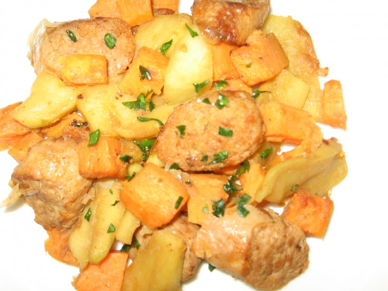 Turkey Sausage with Sauteed Apples and Sweet Potatoes