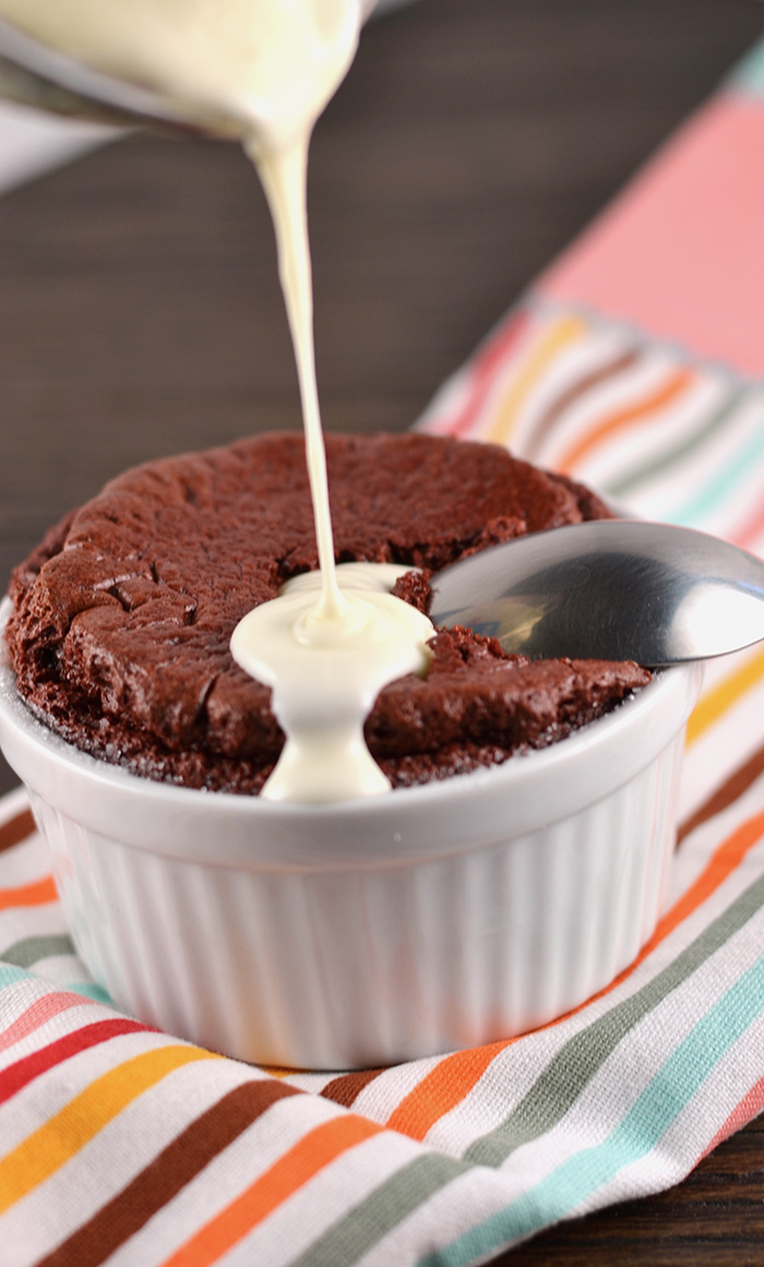 Red Velvet Chocolate Souffle with Cream Cheese Icing Sauce