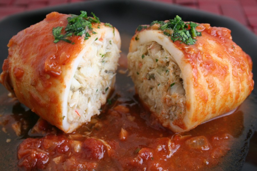Crab Stuffed Squid