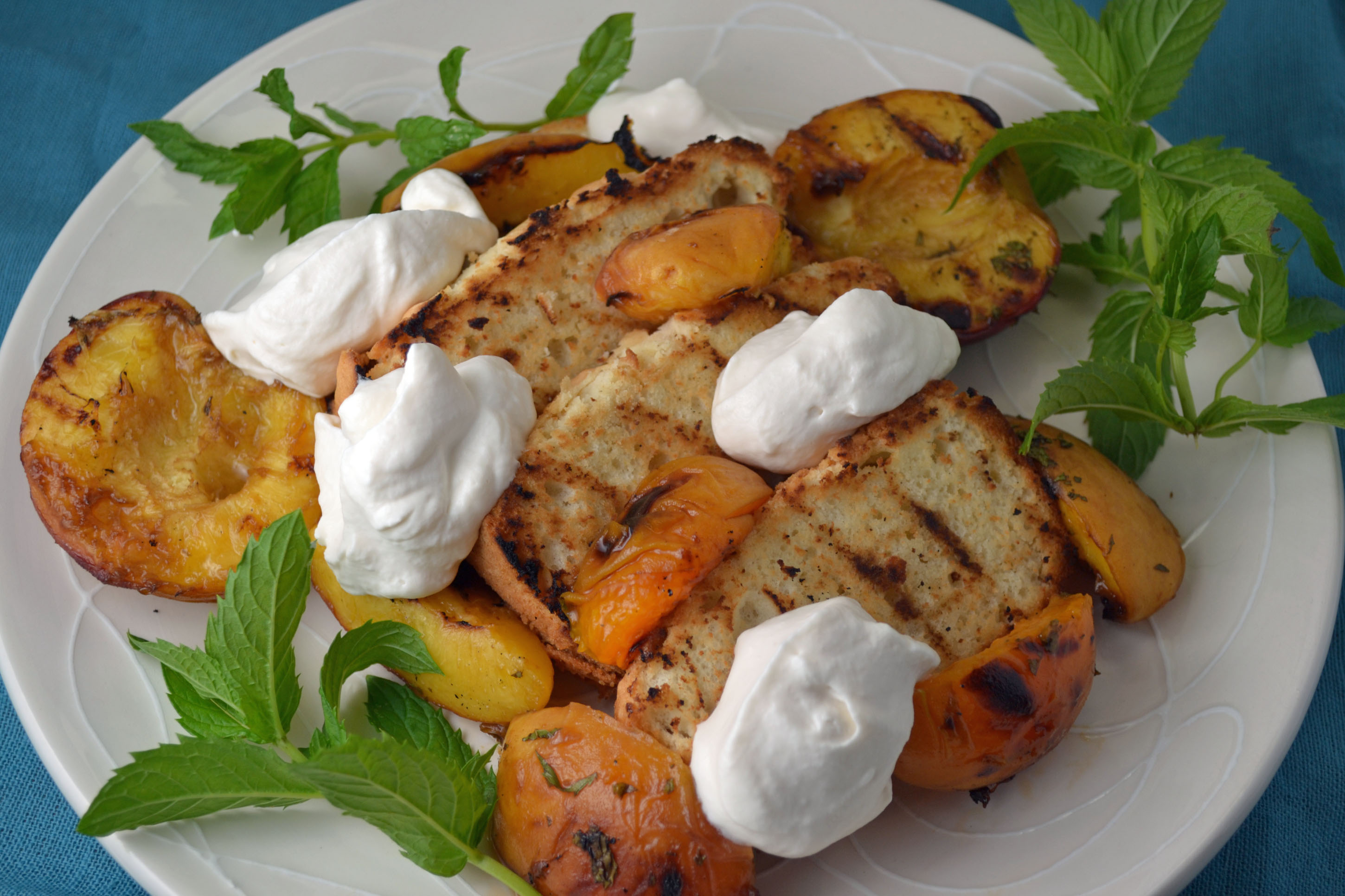 Grilled Princess Pound Cake with Roasted Peaches