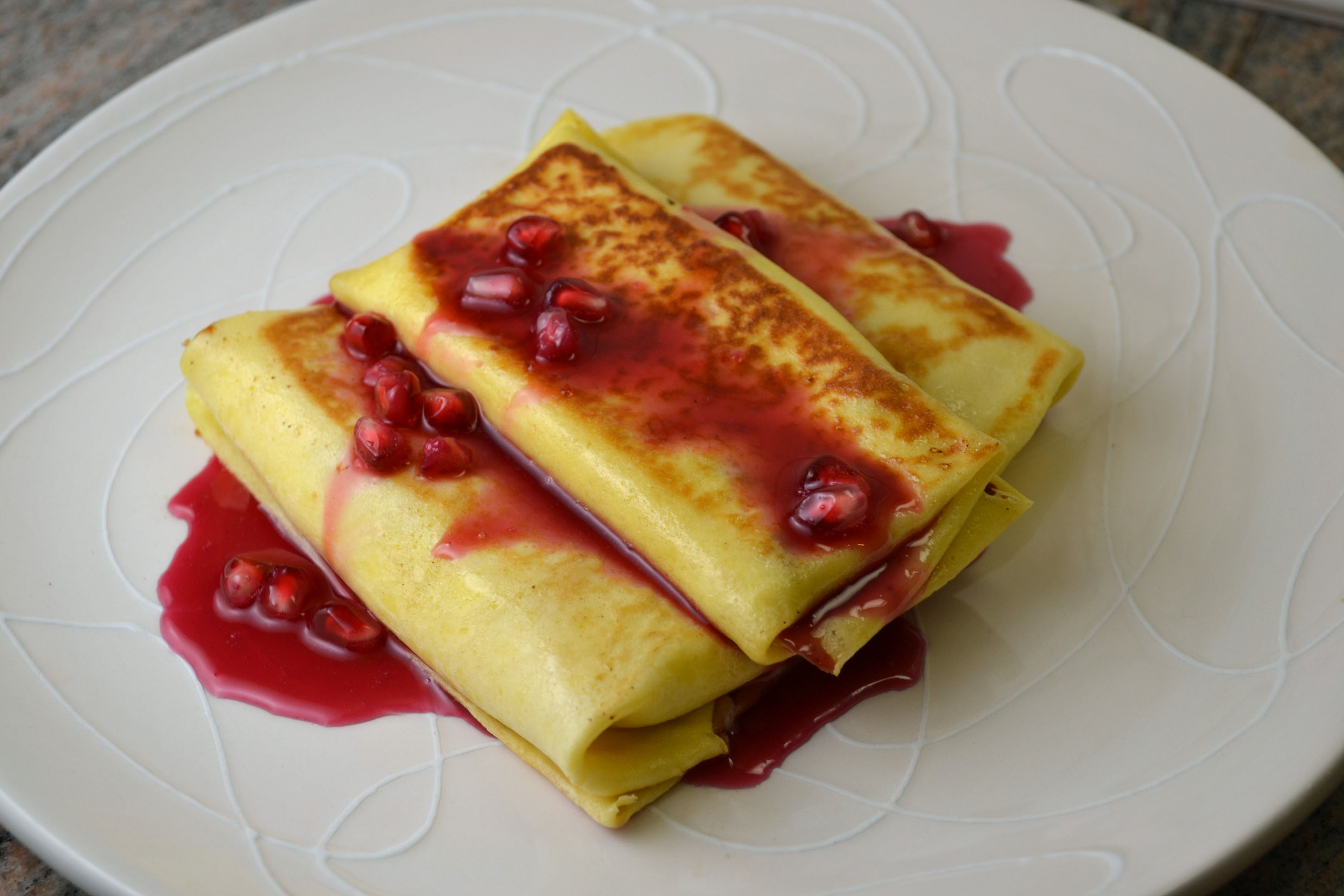 Pomegranate Blintzes