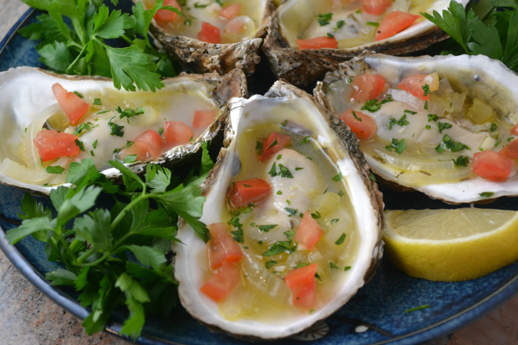 Oysters in White Wine Sauce close
