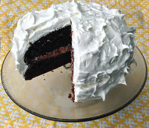 Chocolate Devils Food Cake with Meringue Frosting