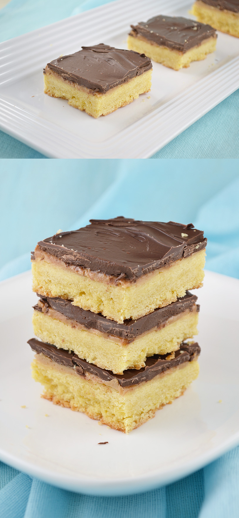 Chocolate Peanut Butter Shortbread Squares Recipe — Dishmaps