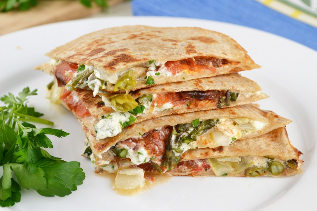 Goat Cheese Roasted Tomato and Asparagus Quesadilla