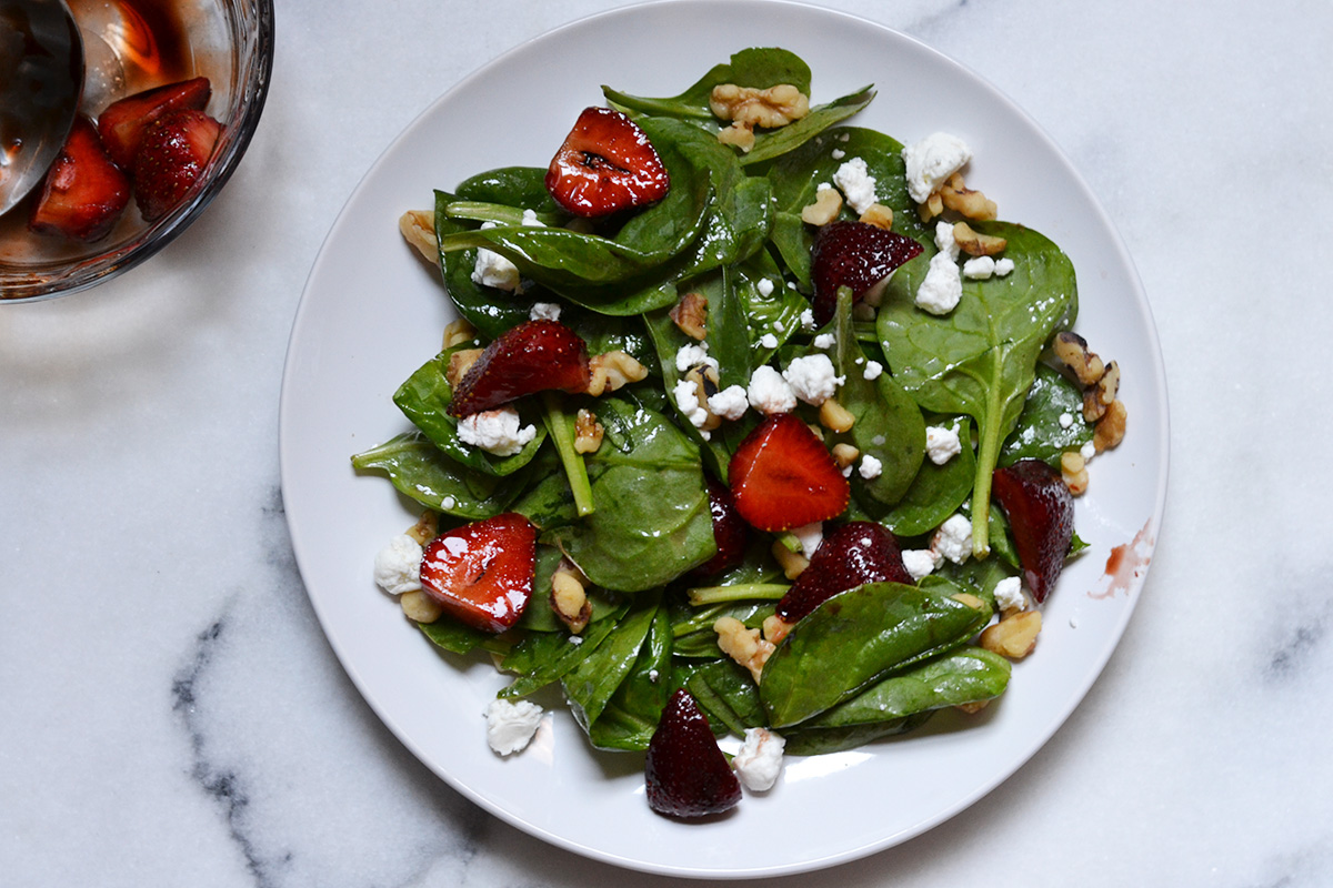 Balsamic Glazed Strawberry And Goat Cheese Spinach Salad Impeckable Eats