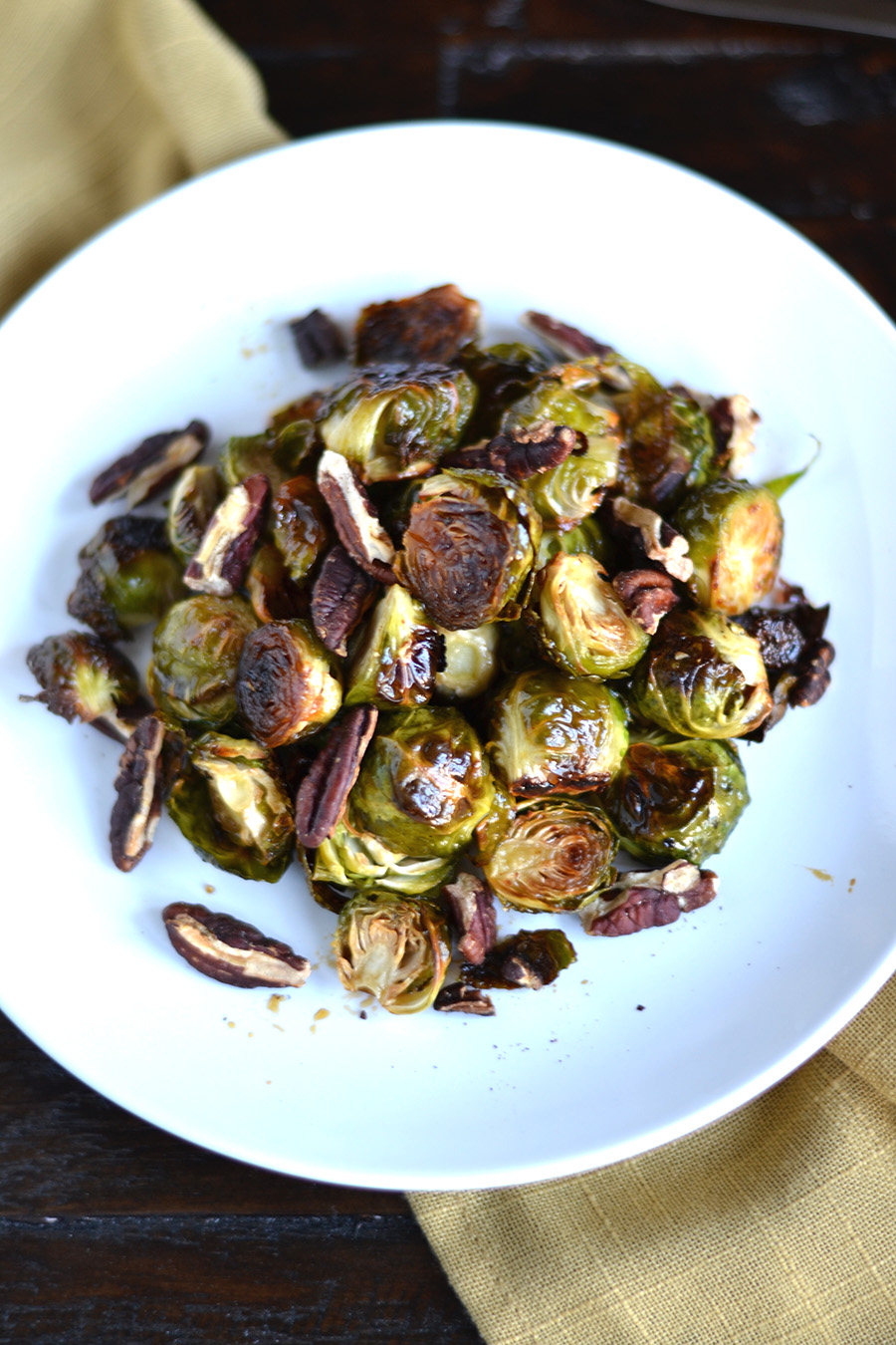 Honey Roasted Brussel Sprouts with Pecans