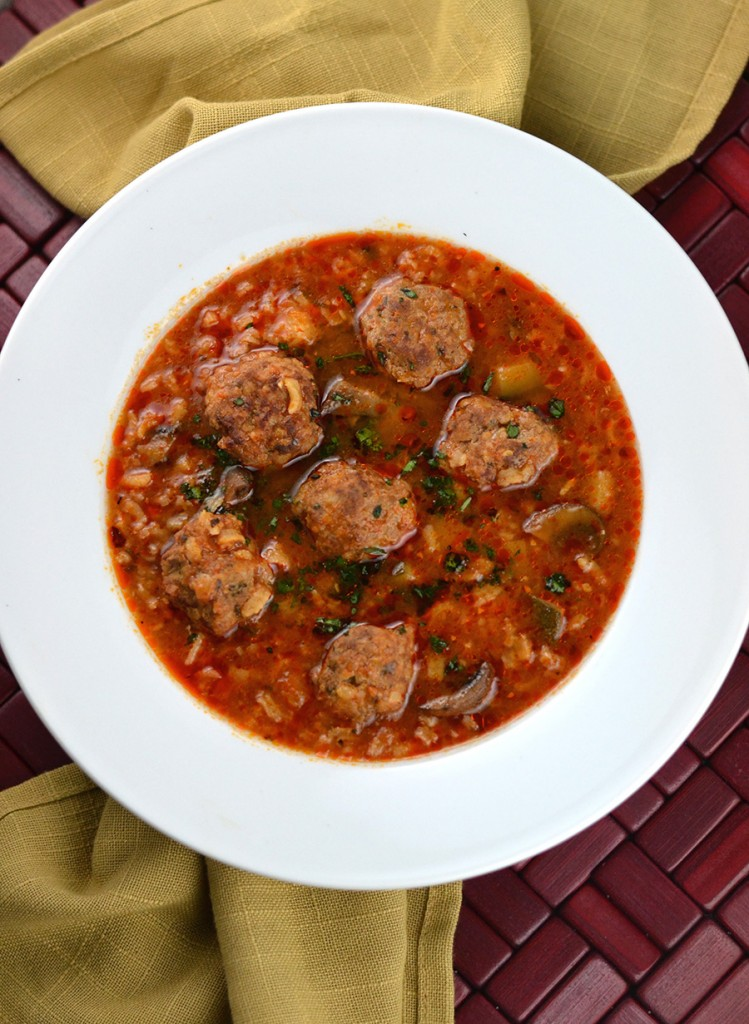 Meatball Rice Soup with touch of spice from chipotle peppers, perfect on a cold day | impeckableeats.com