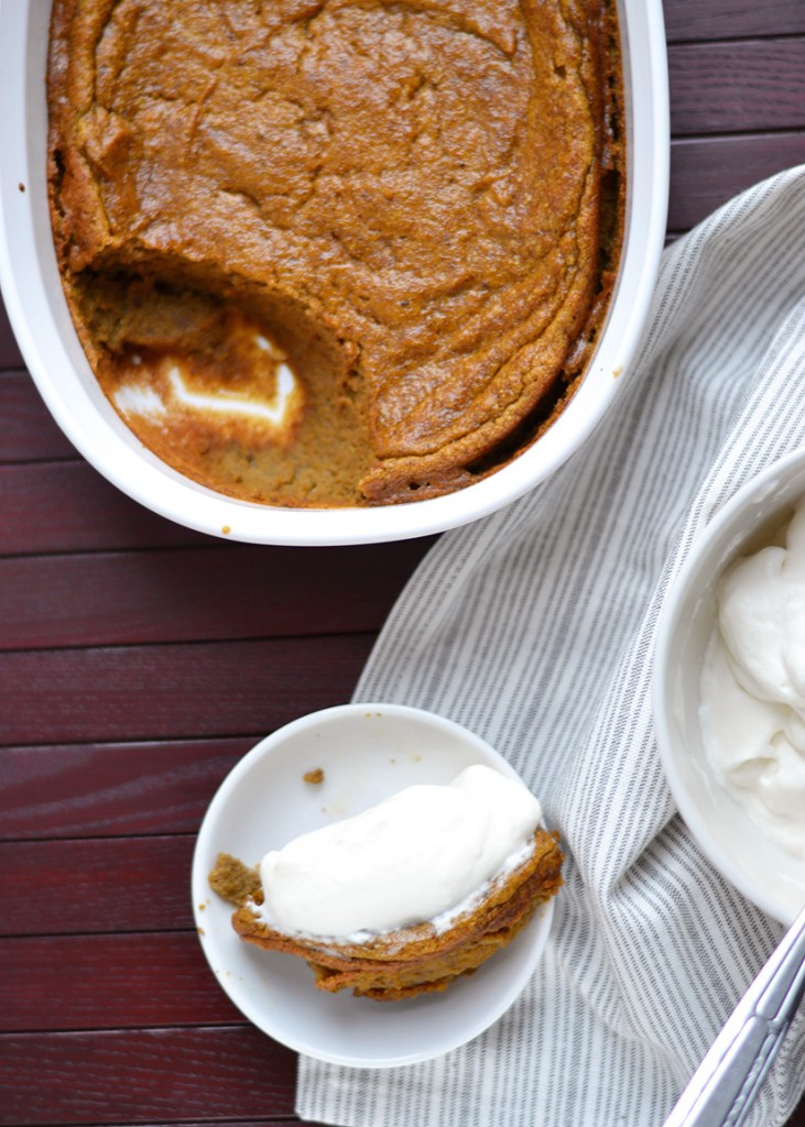 Baked Pumpkin Spice Pudding with Whipped Cream | ImPECKable Eats