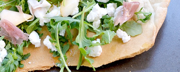 Arugula Prosciutto and Goat Cheese Flatbread