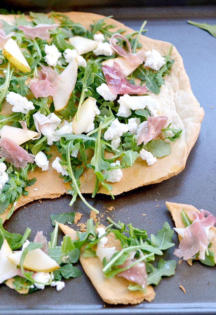 Arugula, Pear, and Prosciutto Flatbread