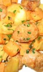 Turkey Sausage with Sauteed Sweet Potatoes and Apples
