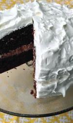 Devils Food Cake with Meringue Frosting