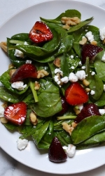 Balsamic Glazed Strawberry and Goat Cheese Spinach Salad