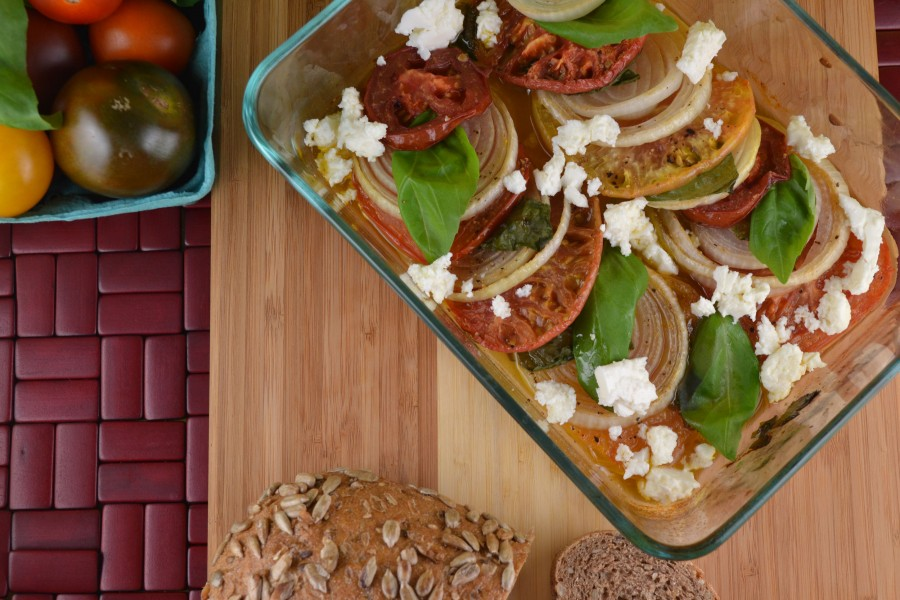 Baked Heirloom Tomatoes and Onions