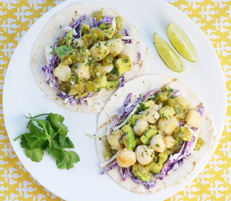 Scallop Tacos with Salsa Verde